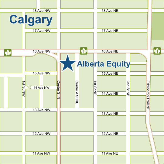 Alberta Equity Mortgages Calgary Map