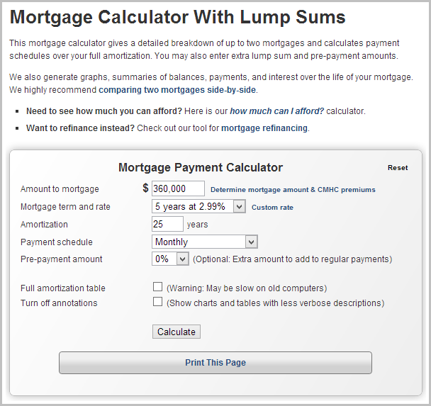 formula for mortgage calculator